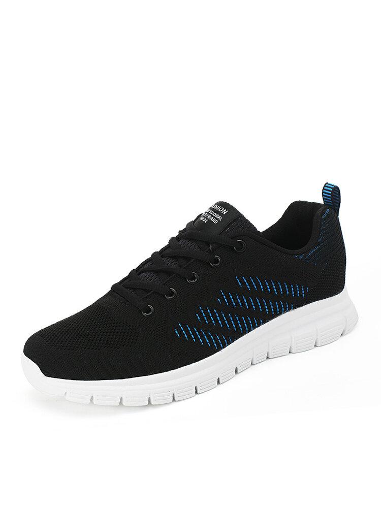 Herren atmungsaktive gestrickte Stoff Seitenstreifen Muster Outdoor Casual Walking Schuhe