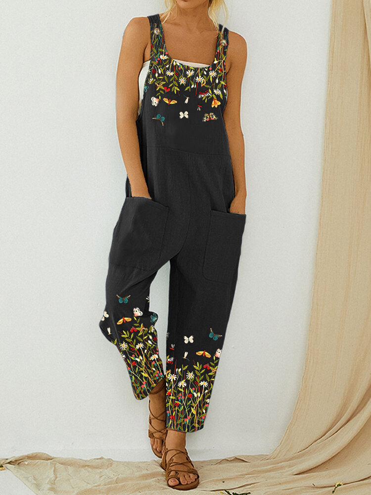 Butterfly Flower Print Strap Button Casual Jumpsuit With Pocket