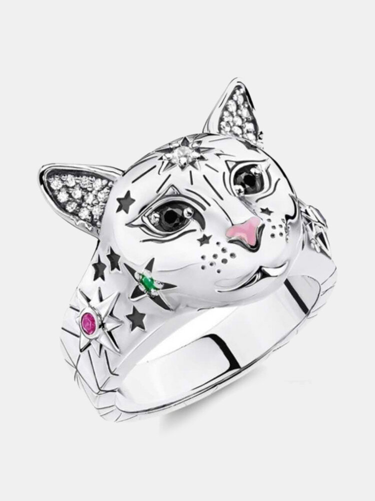 Vintage Animal Women Ring Cat Head Colored Star Ring Jewelry Gift