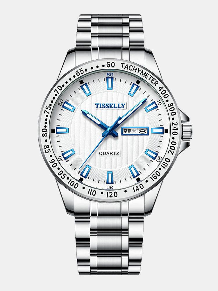 4 Colors Stainless Steel Men Vintage Watch Luminous Pointer Decorated Calendar Quartz Watch