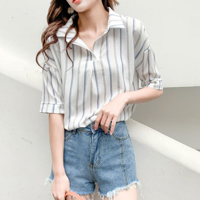 Striped Short-sleeved Shirt Women's New Students Loose Small Fresh And Very Beautiful Tops