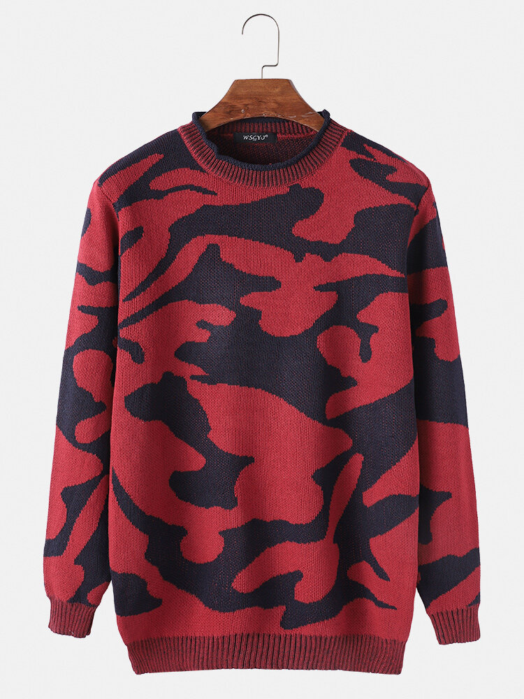 Mens Camouflage Cotton Casual Relaxed Fit Crew Neck Pullover Sweater