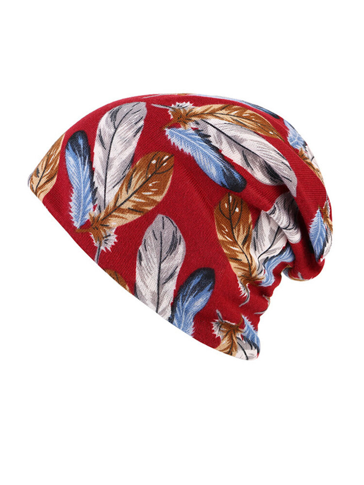 Women Cotton Print Dual-use Beanie Both Cap And Scarf Use Beanie Causal Windproof Hats