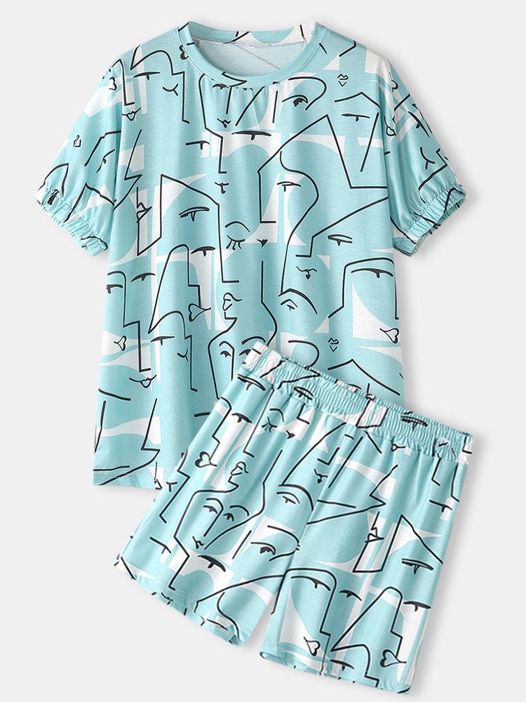 Plus Size Mujer Conjuntos de pijama de casa de manga corta con estampado de líneas abstractas