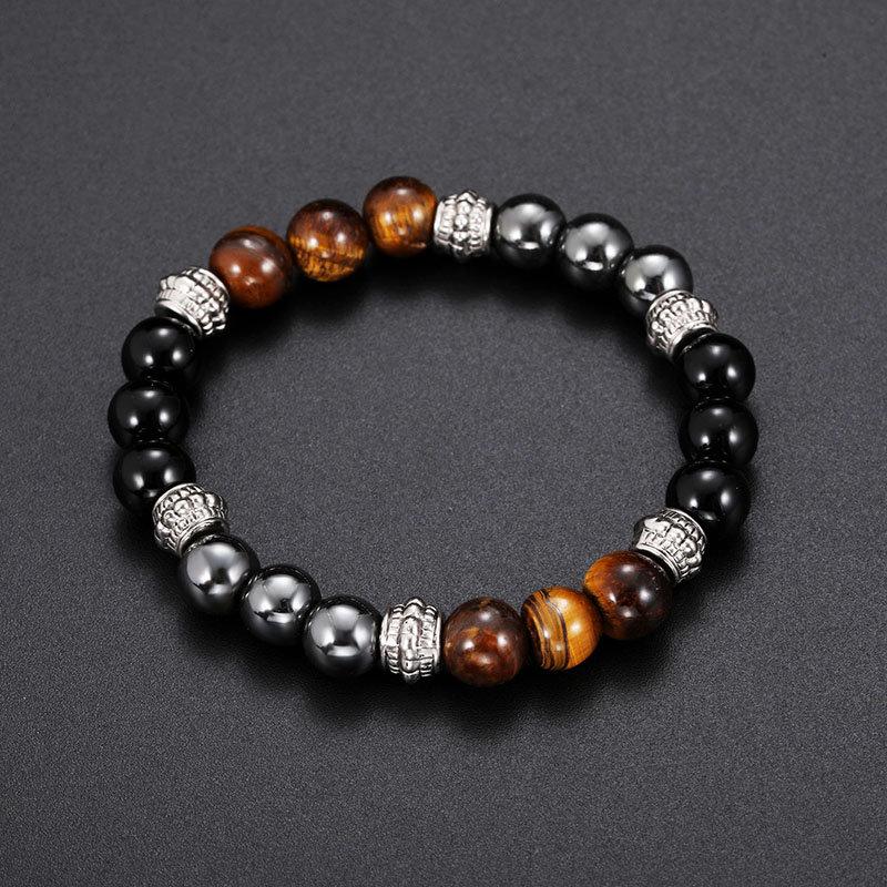 Vintage Tiger-eye Mens Womens Beaded Bracelet Natural Stone Beads Buddha Bracelet for Women Men