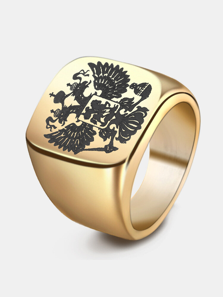 Fashion Russian Double Eagle Stainless Steel Ring wih A Coat of Arms Big Rings for Men