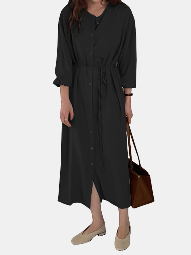 Casual Solid Color Drawstring O-neck Button Bishop Sleeve Dress