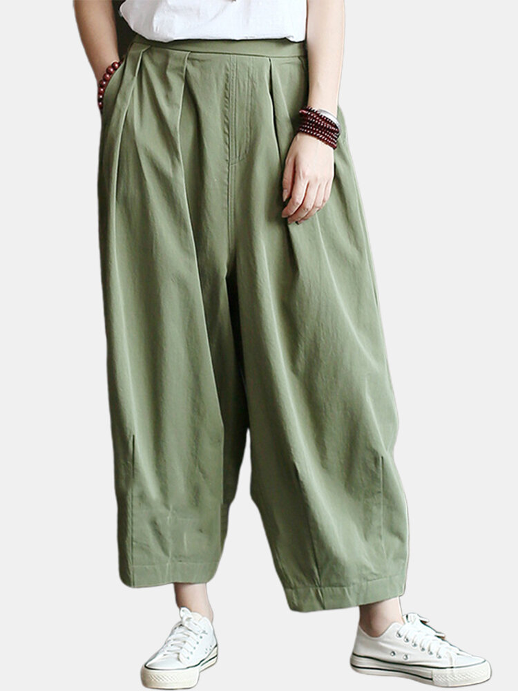 Solid Color Loose Pleated Elastic Waist Casual Pants