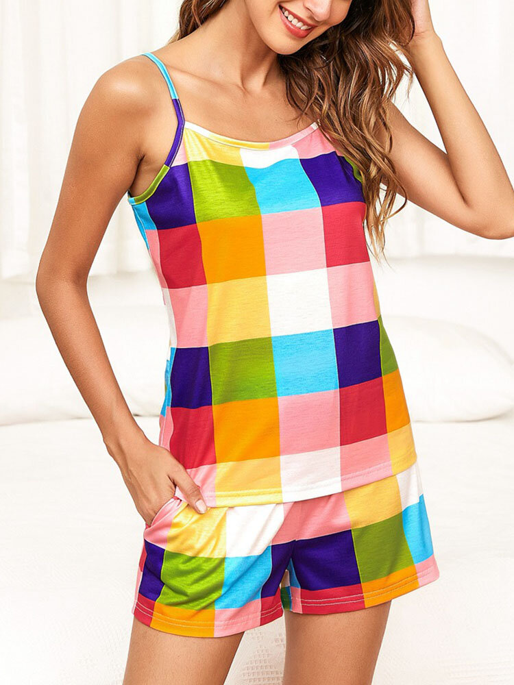 Plus Size Women Color Block Sling Strappy Pajamas Sets With Pocket