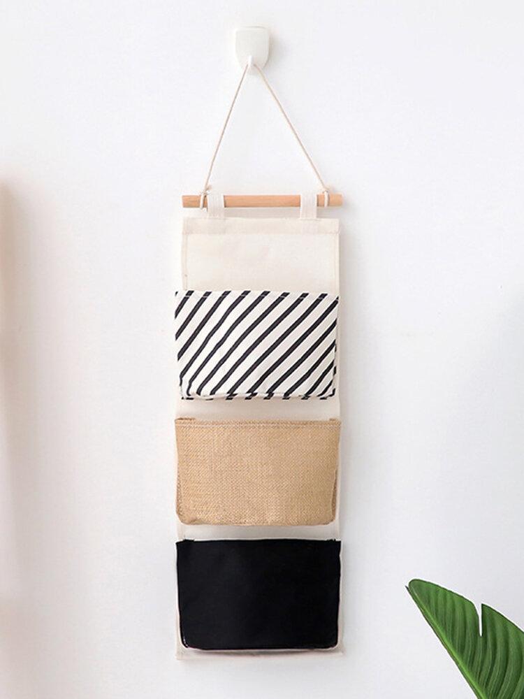 Armario de pared de algodón de lino Almacenamiento colgante Bolsa Almacenamiento en blanco y negro con 3 puertas corredizas Bolsa
