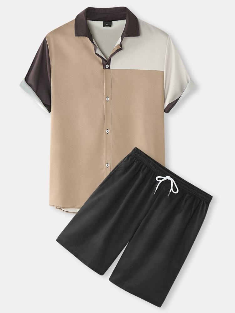 Mens Color Block Panel Lapel Drawstring Shorts Preppy Two Pieces Outfits