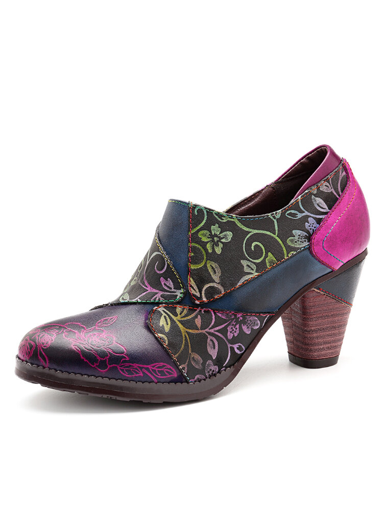 SOCOFY Retro Splicing Hand Painted Flowers Pattern Zipper Chunky Heel Genuine Leather Pumps