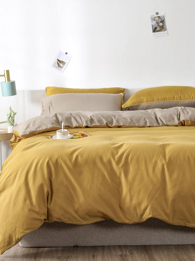 2/3Pcs Yellow AB Sided Plain Color Comfy Bedding Duvet Cover Set Pillowcase Adults Bed Duvet Set Twin King