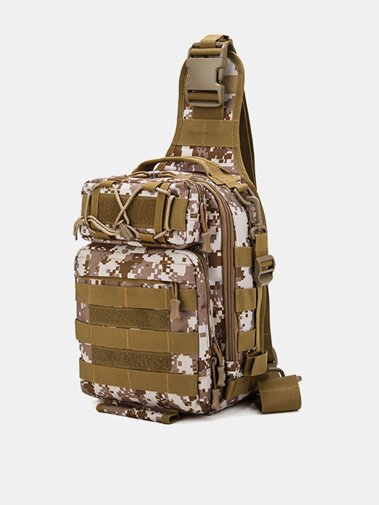 Men Nylon Camouflage Large Capacity Multi-carry Tactical Travel Outdoor Chest Bag Sling Bag