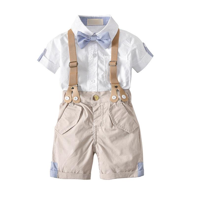2Pcs Formal Toddler Boys Shirt +Suspender Short Pants Clothing Sets For 1Y-5Y