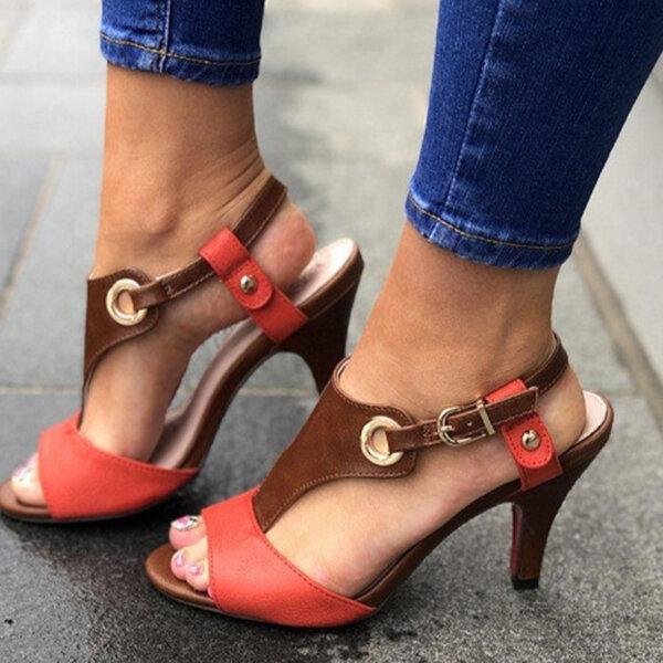 Large Size Women Casual Splicing Peep Toe High Heel Buckle Sandals