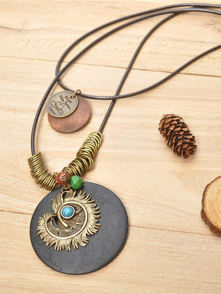 Ethnic Stereoscopic Imitation Loose Stone Pendant Multi-layer Necklace Vintage Sweater Chain