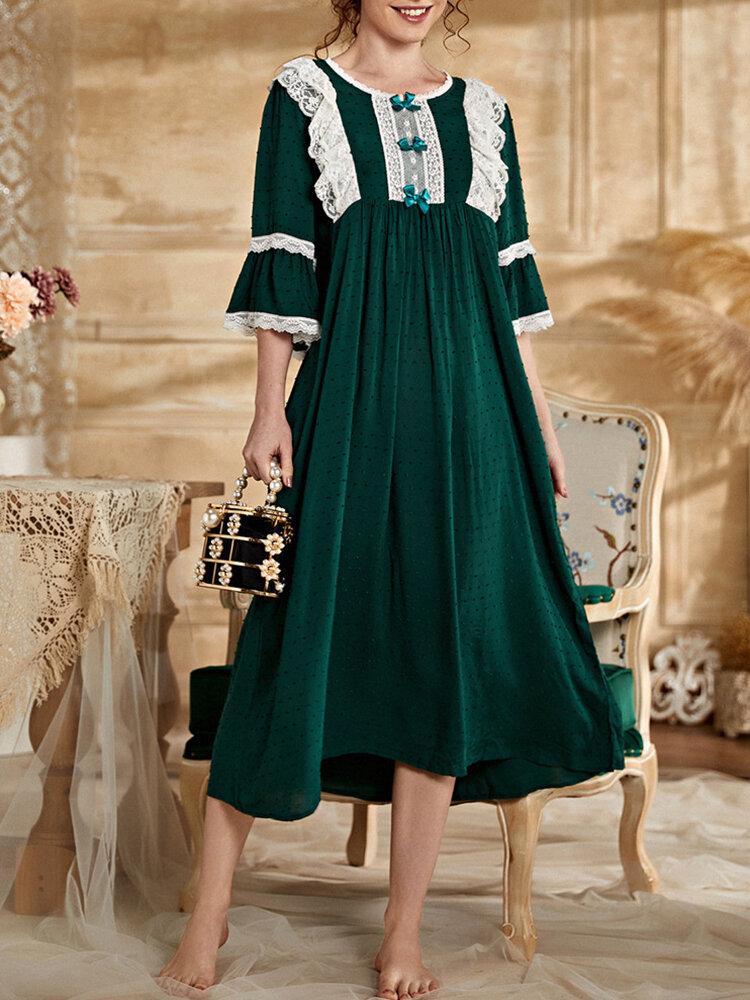 Frauen Kontrast Spitzenbesätze Schleife Rundhalsausschnitt Volant Ärmel Baumwolle Gemütliches Nachthemd