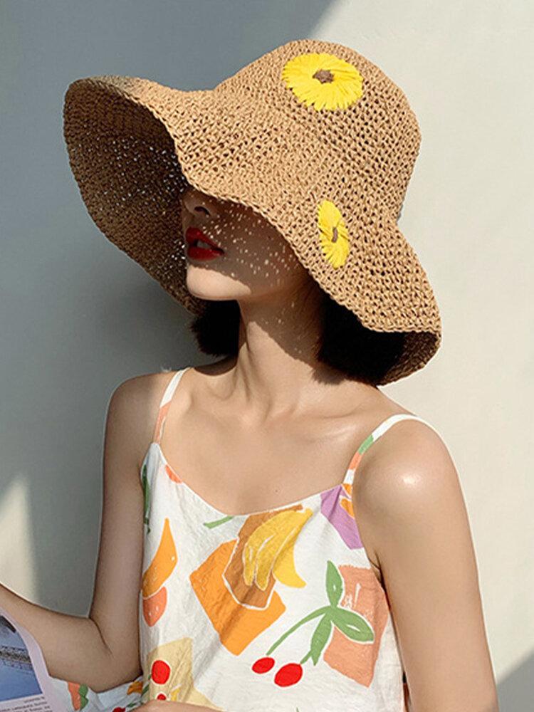 Women Wide Brim Summer Beach Holiday Daisy Printing Sunshade Straw Hat Bucket Hat