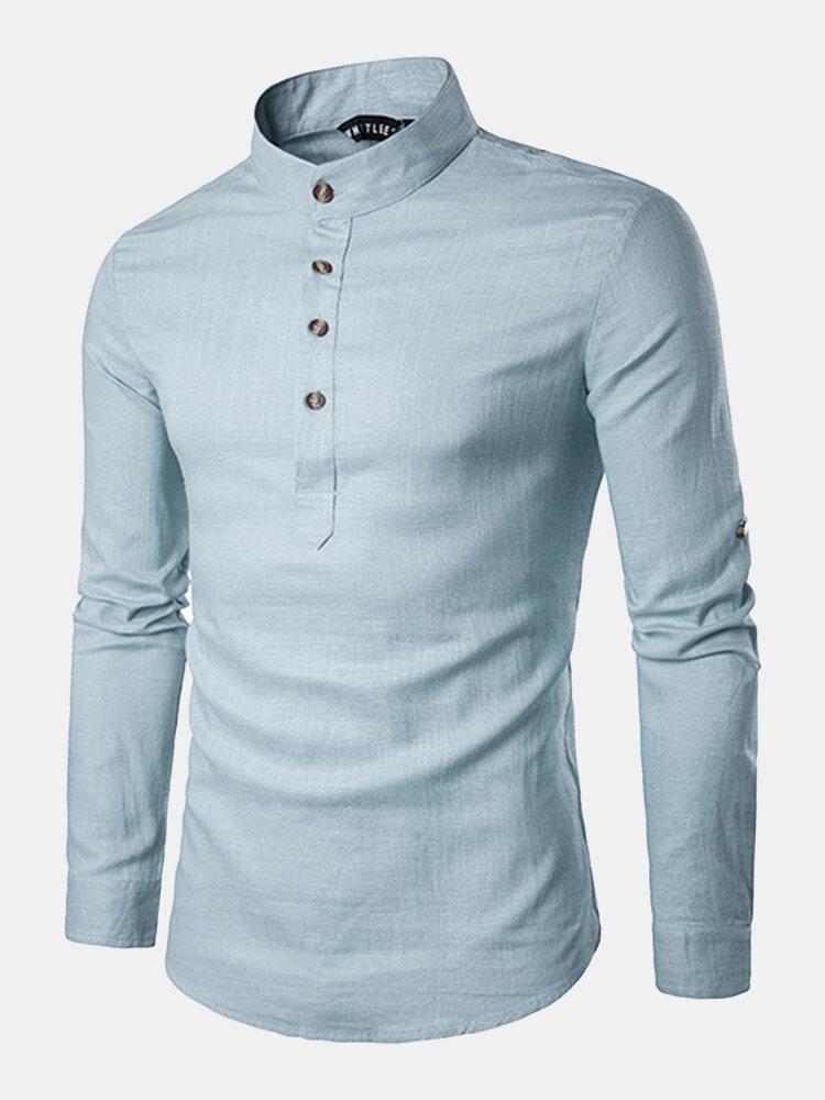 UK Mens Cotton Linen T-shirt Tops Long Sleeve Breathable Tee Casual Blouse M-2XL