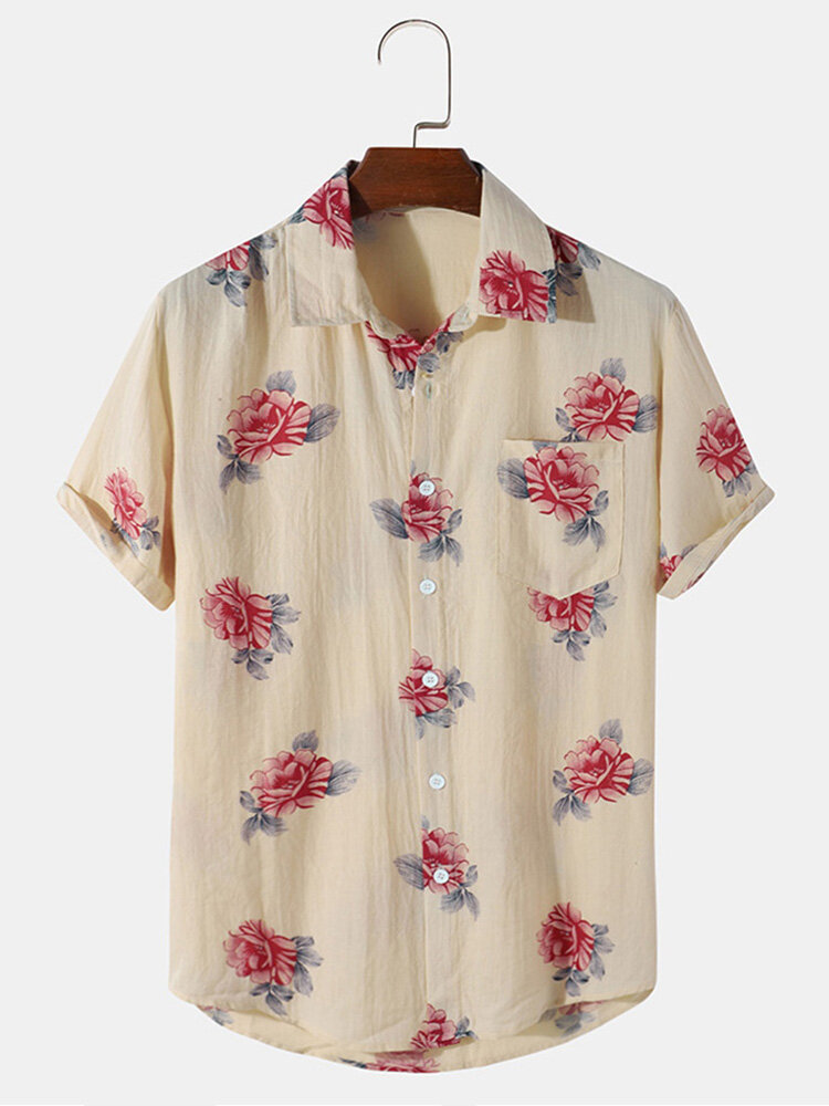 Mens 100% Cotton Floral Print Wrinkle Holiday Short Sleeve Shirts