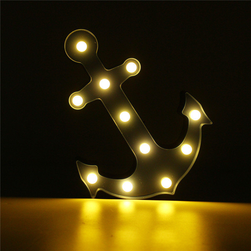 Cute Anchor LED Night Light Wall Battery Lamp Baby Kids Bedroom Home Decor