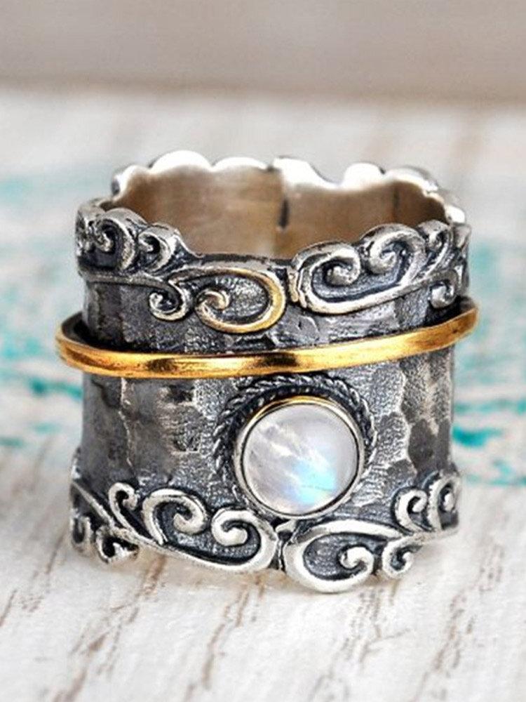 Vintage Carved Two-tone Pattern Inlaid Moonstone Wide Metal Ring