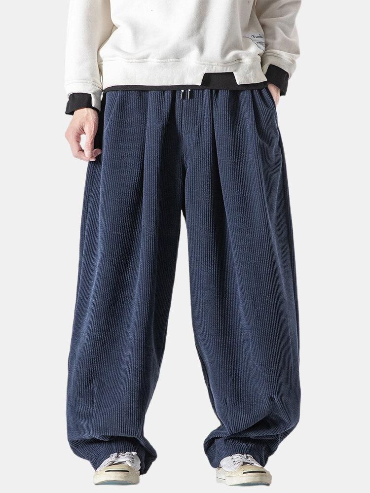 Mens Corduroy Solid Color Loose Casual Drawstring Waist Harem Pants