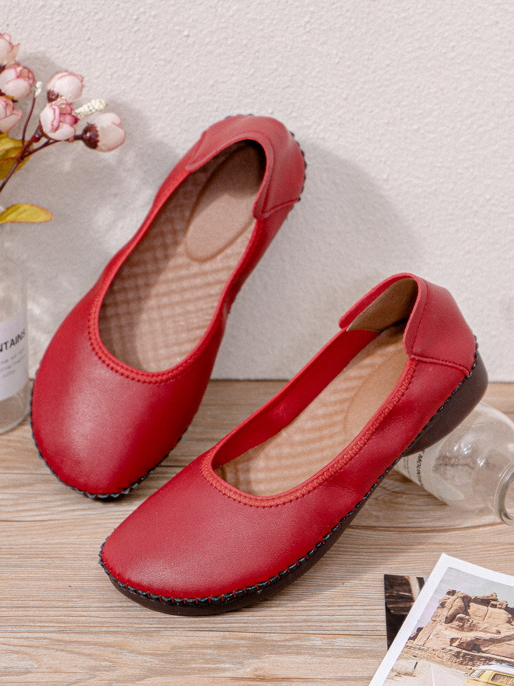 Women Daily Round Toe Stitching Leather Single Ballet Flat Shoes