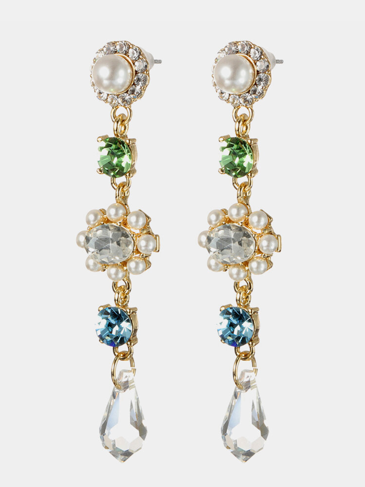 Women's Gemstone Earrings 18K Gold Plated Zircon Crystal Pearls Ear Drop Gift for Her