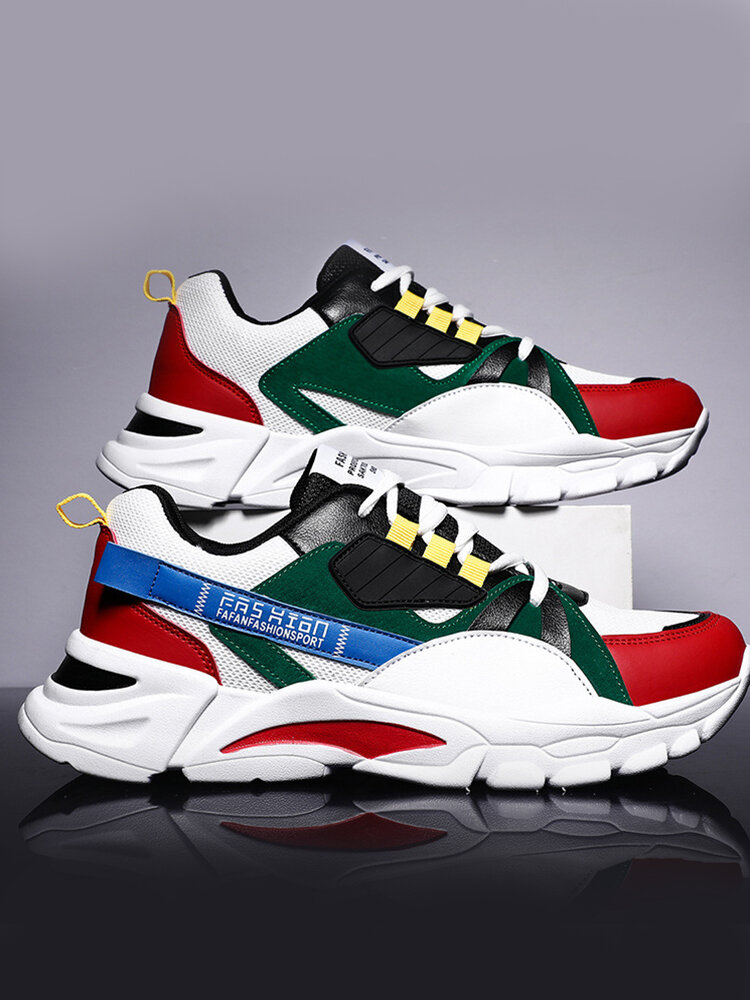 Men Color Blocking Patchwork Breathable Sport Chunky Sneakers