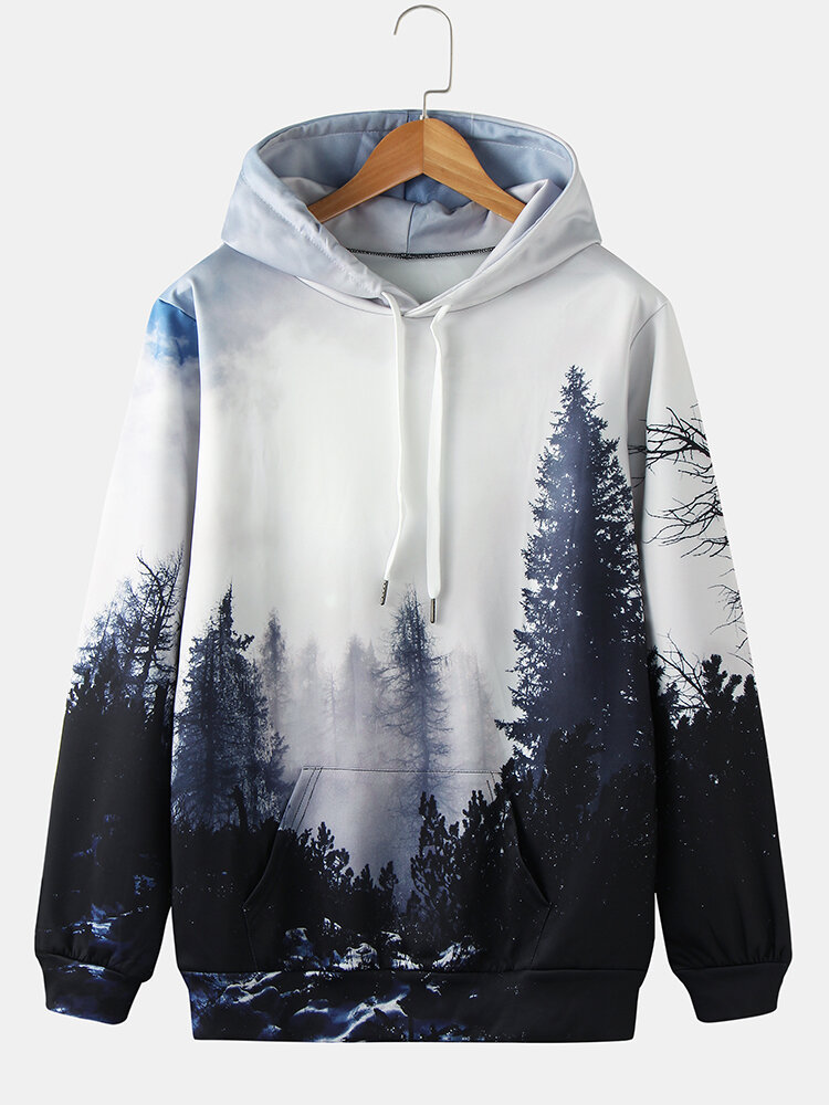 Mens Forest Landscape Printed Casual Drawstring Hoodies With Pouch Pocket