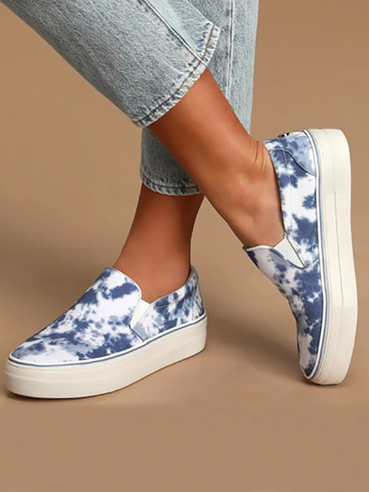 Women Printing Comfy Wearable Breathable Casual Chunky Flats