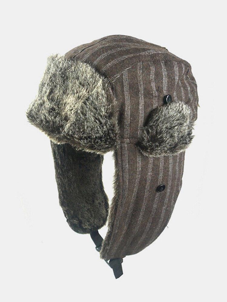 メンズストライプパターン防寒冬用トラッパーハット厚手の冬用ハット耳保護トラッパーハット