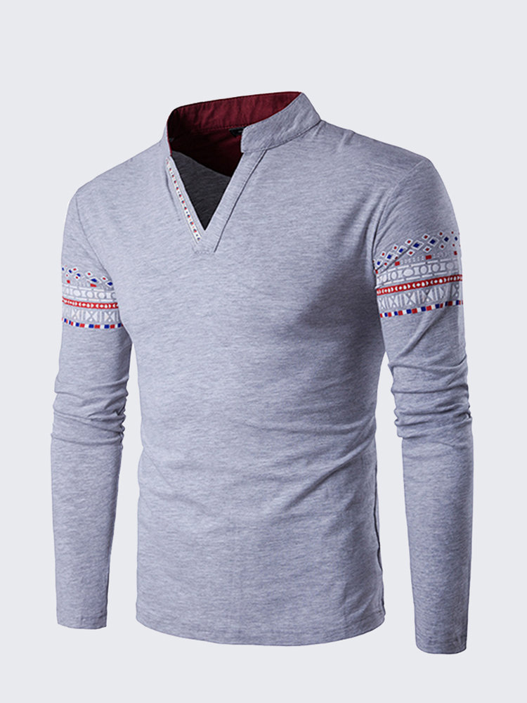 9f979217f824 Mens Fashion Chinese Collar V-neck Printing Long Sleeve Casual T-shirt on  sale-NewChic