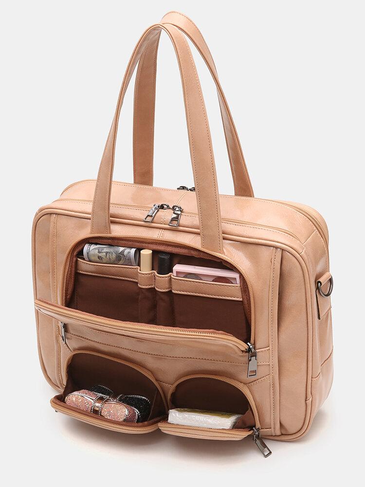 Women Multifunction Multi-pocket Waterproof 13 Inch Laptop Bag Shoulder Bag Travel Bag Daily Tote