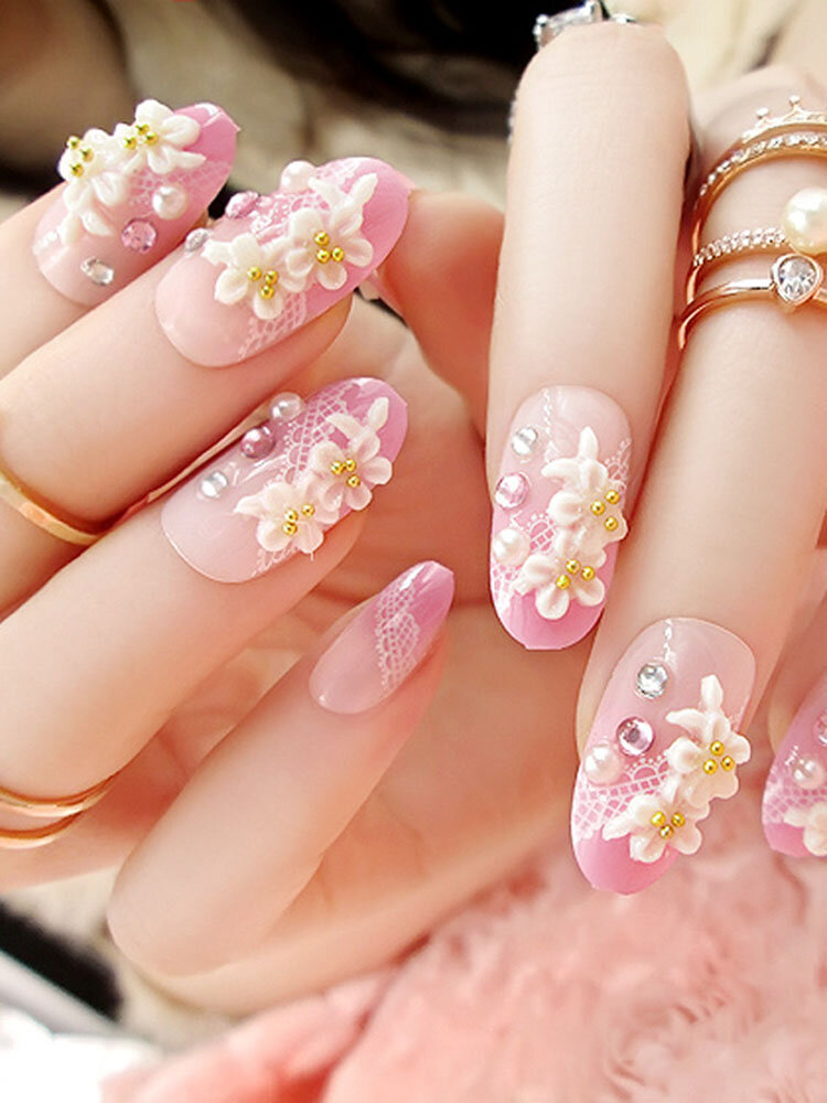 Carved Stereoscopic Flower Fake Nails Pink Rhinestone Nail Tips For Nail Art Artificial Nails