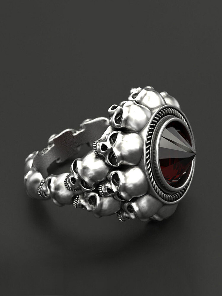 Vintage Skull Men Ring Punk Inlaid Satellite Gem Women Ring