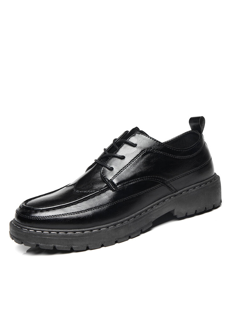 Men Casual Round Toe Lace-up Hard Wearing PU Leather Loafers Shoes