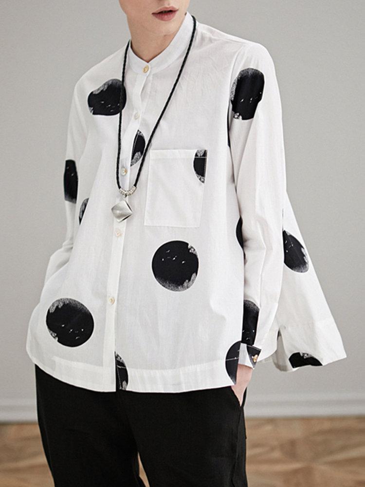 Miting_Loose_Dot_Printed_TurnDown_Collar_Long_Sleeve_Women_Blouses