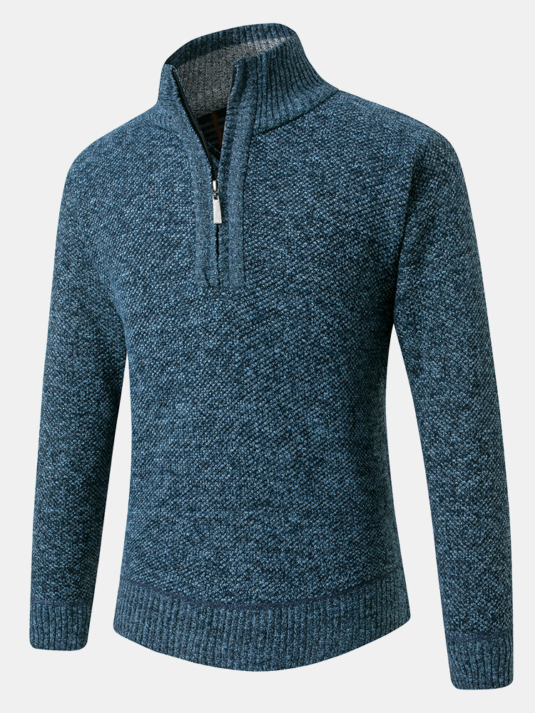 Mens Rib-Knit Half Zipper Cotton Warm Long Sleeve Casual Pullover Sweaters