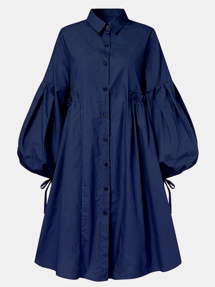 Solid Color Button Puff Sleeve Mid-length Casual Dress for Women
