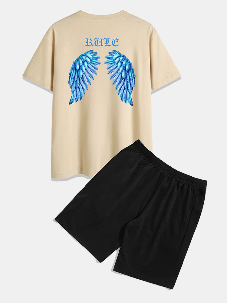 Mens Wing & Character Print Short Sleeve Casual Two Piece Outfits