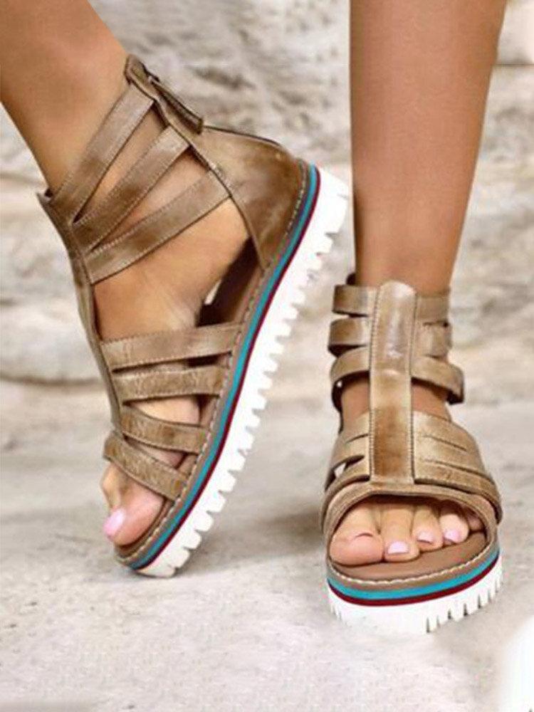 Women European Roman Style Comfy Platform Gladiator Sandals