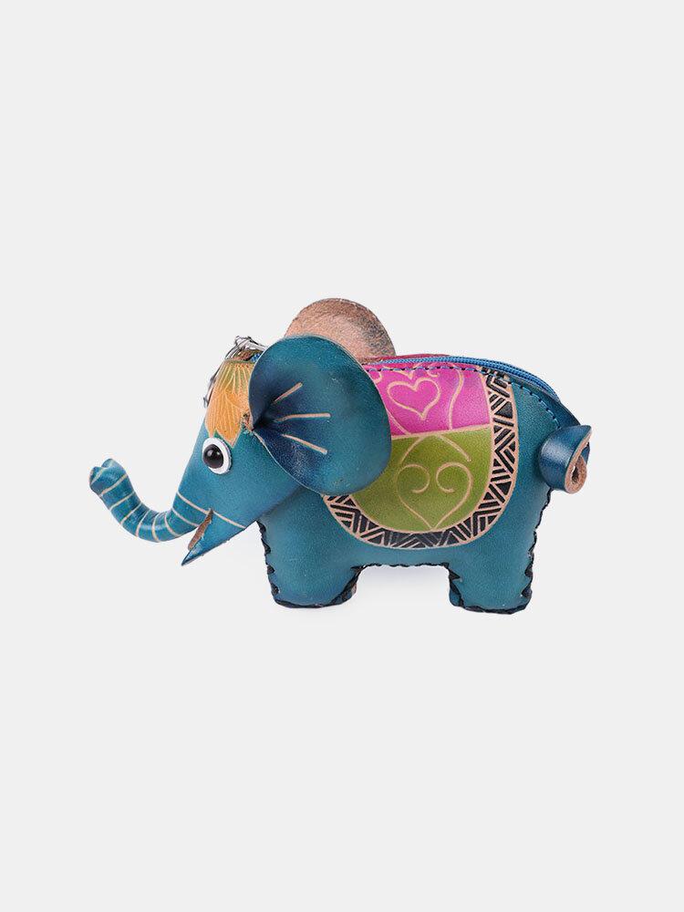 Женское Натуральная Кожа Монета в форме милого слона с животными Сумка Кошелек для хранения Кулон