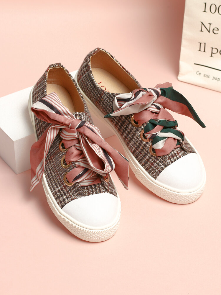 LOSTISY Scarf Decor Lace Up School Casual Skate Shoes Womens Flats