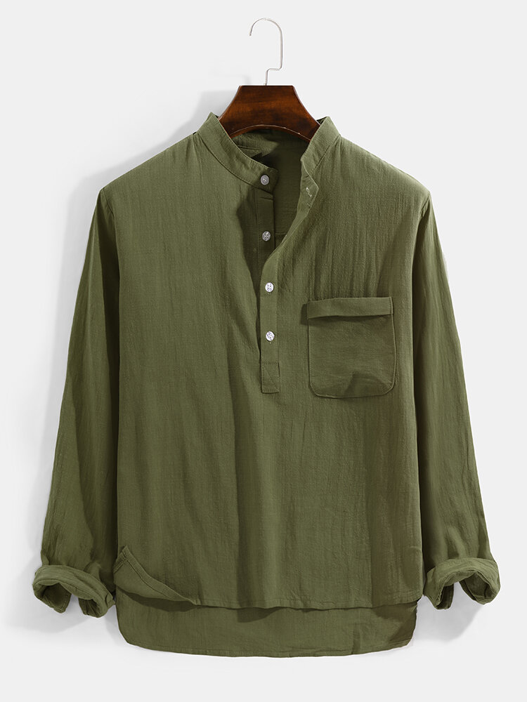Mens Solid Color Chest Pocket Casual Basic Long Sleeve Henley Shirt