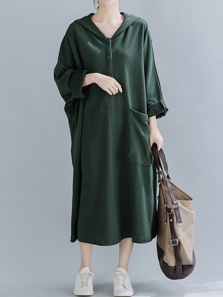 Casual Button Bat Sleeve Hooded Plus Size Sweatshirt Dress With Front Pocket