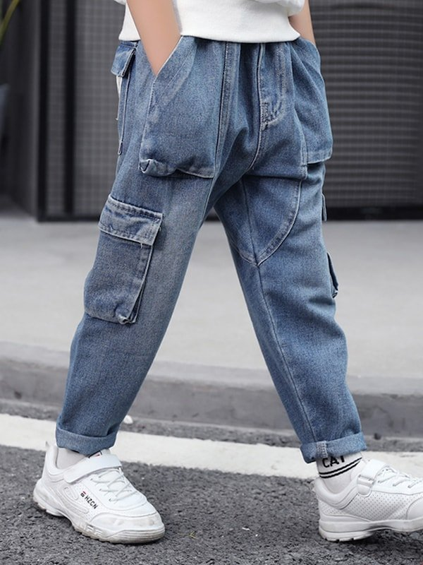 Boy's Jeans Elastic Waist Brief Design All Match Casual Jeans