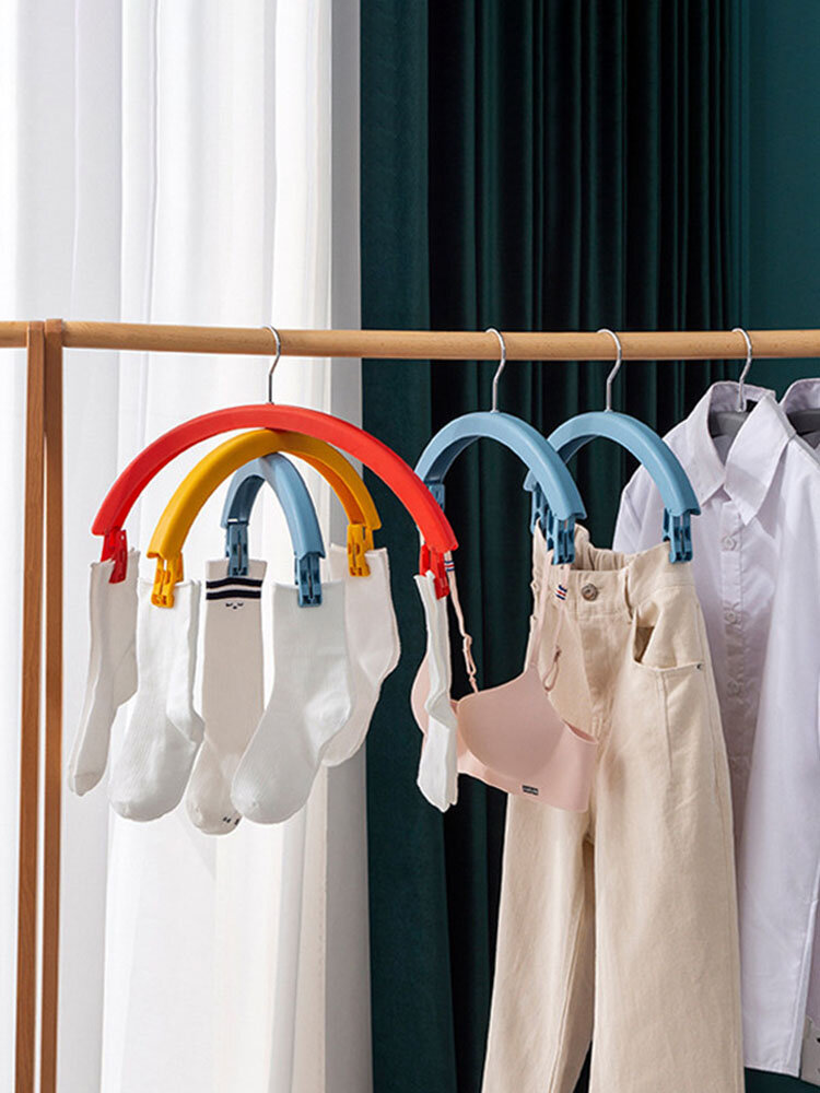 Clothes Rack Creative Rainbow Rotating Racks Multifunctional Three-layer Bed Sheet Drying Rack Clothes Hanger With Pants Clip